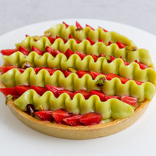 Pistachio and Strawberry Tart